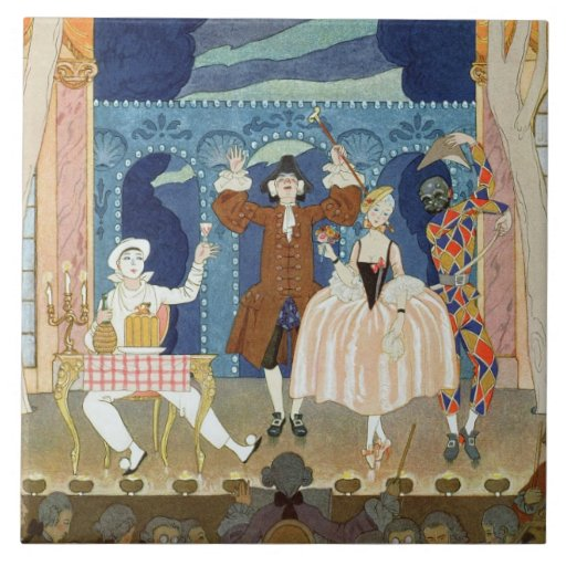 Pantomime Stage, illustration for 'Fetes Galantes' Tile