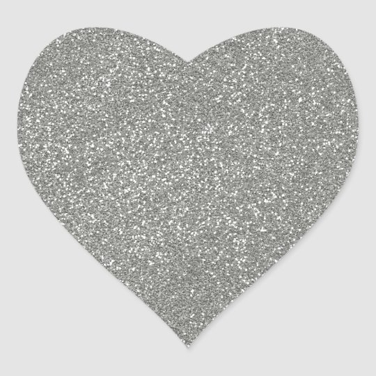 PANTONE Glacier Grey with faux Glitter Heart Sticker