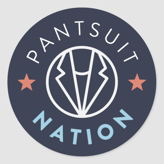 Pantsuit Nation Round Sticker, Navy Classic Round Sticker