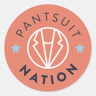 Pantsuit Nation Round Sticker, Orange Round Sticker
