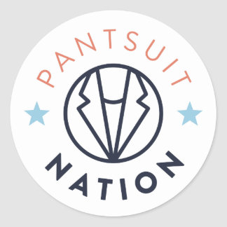 Pantsuit Nation Round Sticker, White Classic Round Sticker