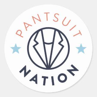 Pantsuit Nation Round Sticker, White Round Sticker