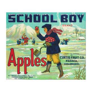 Paonia, Colorado - School Boy Apple Label Canvas Print