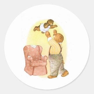 Papa and Baby Bear Round Sticker