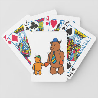 Papa bear and son cartoon playing cards