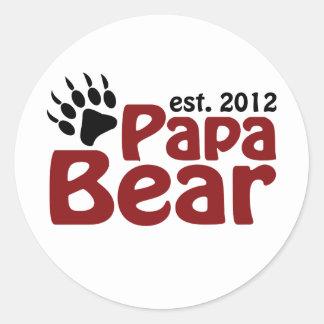papa bear claw 2012 round sticker