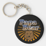 Papa Bear, Cool Fathers Day Vintage Look Basic Round Button Key Ring