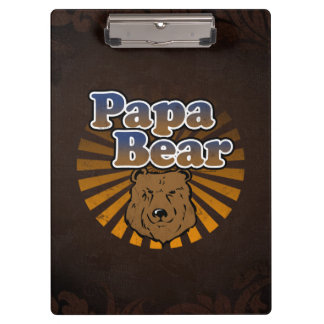 Papa Bear, Cool Fathers Day Vintage Look Clipboards