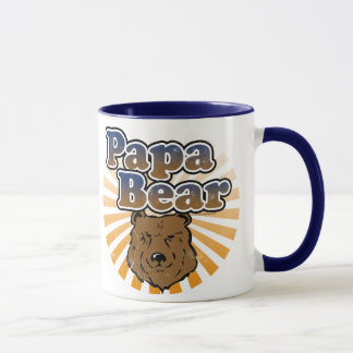 Papa Bear, Cool Fathers Day Vintage Look Mug