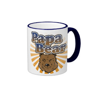Papa Bear Cool Fathers Day Vintage Look Mugs