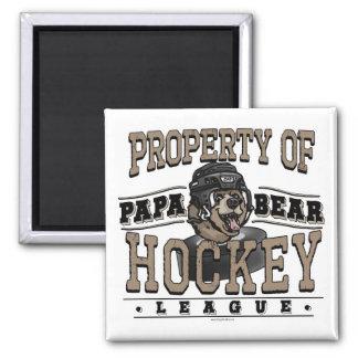 Papa Bear Hockey by Mudge Studios Square Magnet