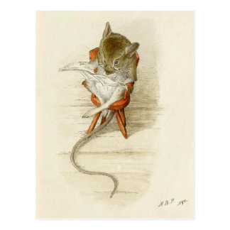 Papa Mouse Reading Newspaper Postcard