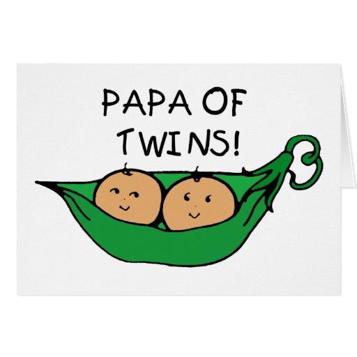 Papa of Twins Pod Greeting Cards