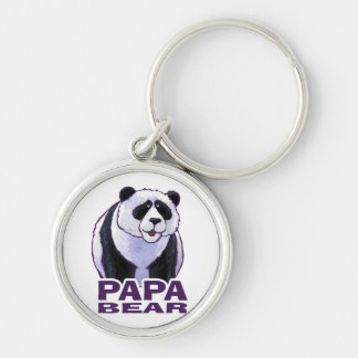 Papa Panda Bear Silver-Colored Round Keychain