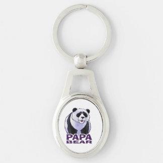 Papa Panda Bear Silver-Colored Oval Key Ring