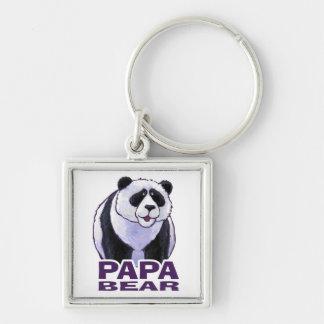 Papa Panda Bear Silver-Colored Square Key Ring