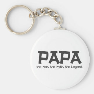 Papa the Man the Myth the Legend Basic Round Button Key Ring