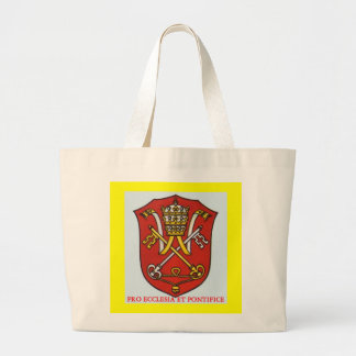 PAPAL TRADITIONAL ROMAN CATHOLIC COAT OF ARMS POPE JUMBO TOTE BAG