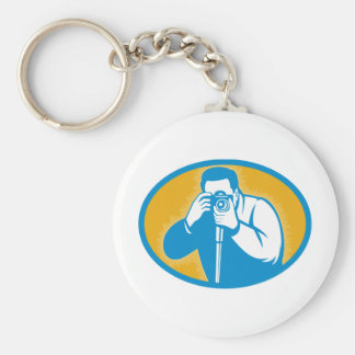 paparazzi Photographer with dslr camera Key Chain