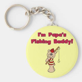 Papa's Fishing Buddy Tshirts and Gifts Basic Round Button Key Ring