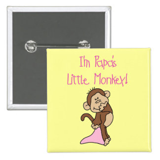 Papa's Little Monkey - Pink Tshirts and Gifts 15 Cm Square Badge