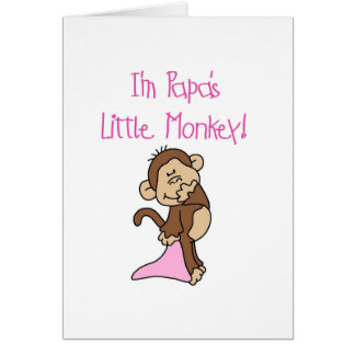 Papa's Little Monkey - Pink Tshirts and Gifts Greeting Card