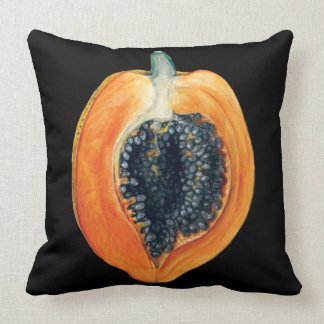 Papaya fruit black cushion