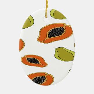Papaya fruit pattern ceramic oval decoration