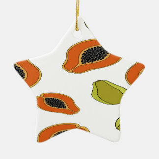 Papaya fruit pattern christmas ornament
