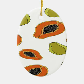 Papaya fruit pattern christmas ornament