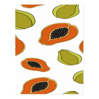 Papaya fruit pattern postcard