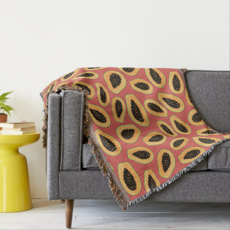 Papaya Fruit Throw Blanket