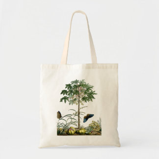 Papaya vintage tree and butterflies tote bag