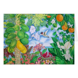 Papayas with Hummingbird Card