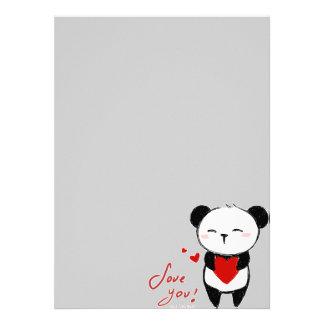 Papel de carta Love You Panda Convite