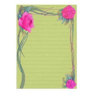 Papel de carta Verde com rosas Convite Personalizados