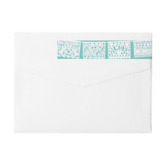 Papel Picado Aqua | Return Address Wrap Label