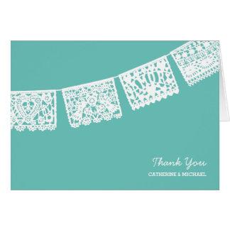 Papel Picado Aqua   Wedding Thank You Card