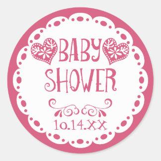 Papel Picado Baby Shower Hot Pink Fiesta Envelope Round Sticker