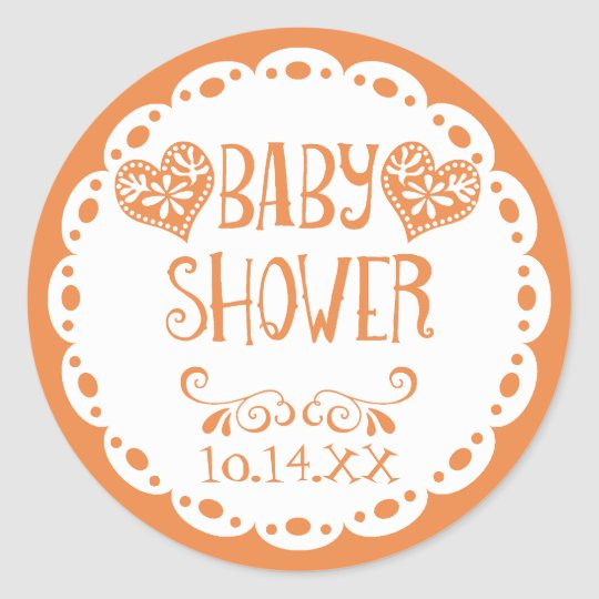 Papel Picado Baby Shower Orange Fiesta Envelope Classic Round Sticker