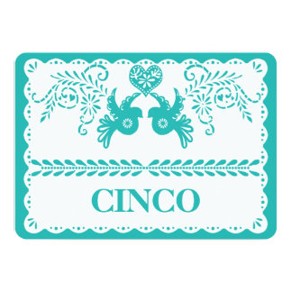 Papel Picado Cinco Five Table Number Aqua Fiesta