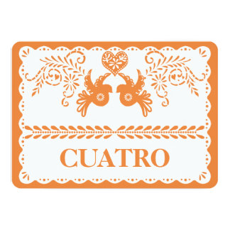 Papel Picado Cuatro Four Table Number Gold Fiesta
