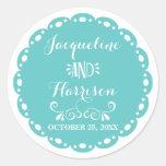 Papel Picado Envelope Seal Aqua Fiesta Wedding Round Sticker