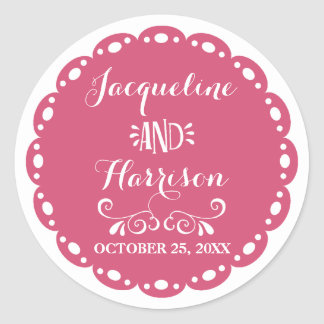 Papel Picado Envelope Seal Hot Pink Fiesta Wedding Round Sticker
