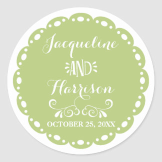Papel Picado Envelope Seal Lime Fiesta Wedding