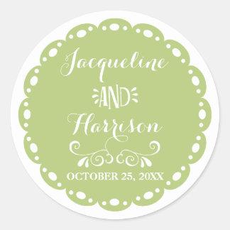 Papel Picado Envelope Seal Lime Fiesta Wedding Round Sticker