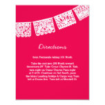 Papel Picado Hot Pink | Wedding Directions Card 11 Cm X 14 Cm Invitation Card
