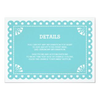 Papel Picado Insert Card - Blue 11 Cm X 16 Cm Invitation Card