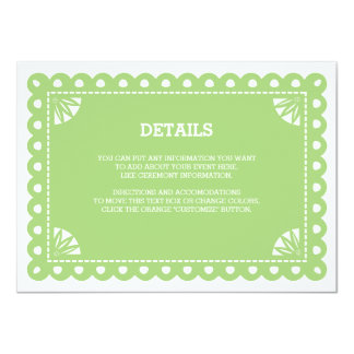 Papel Picado Insert Card - Green 11 Cm X 16 Cm Invitation Card