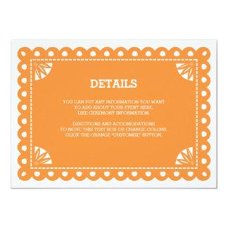 Papel Picado Insert Card - Orange 11 Cm X 16 Cm Invitation Card